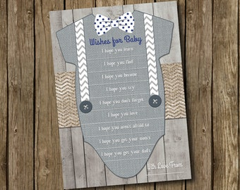 Baby Boy Shower Wishes For Baby Card Navy Blue Gray Bow Tie Suspender Chevron Polkadot Wood Rustic Printable Instant Download Digital