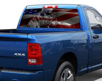 USA flag and sniper us army Rear Window Graphic Decal Sticker Truck SUV