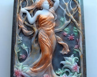 ART NOUVEAU SOAP in Fall, Autumnal Soap, Goddess of Fall, Custom Colored, Custom Scented