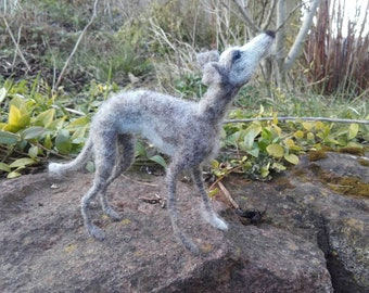 Lurcher sculpture. Needlefelted lurcher