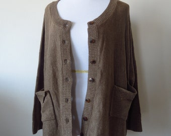 Lace Hem Loose Cardigan Poncho Front Pockets  One Size Brown Color
