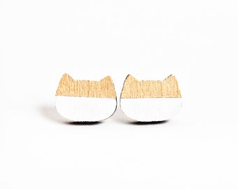 Gold Studs Earrings, Tiny Earrings, Cat Lover Gift, Tiny Cat Earrings, Gifts for Her, Minimalist Jewelry, Wooden Post Earrings, Mom Gift