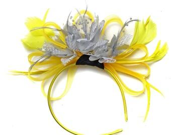 Bright Yellow & Silver Feathers Fascinator on Headband