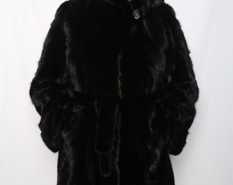 Black Mink Coat,Real Mink Fur, Hooded coat,Mink fur coat,womens coat,mink coat