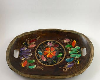 Vintage Folk Art Painted Tray