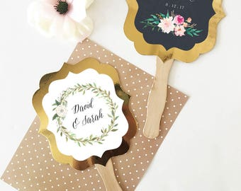 Wedding Fans Personalized Hand Fans Wedding Fan Favors Rustic Wedding Favors Paddle Fans Ceremony Fans Floral Wedding -Table Decor 24 pcs