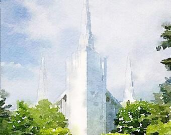 Portland Temple Watercolor Print