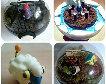 Mareep POKÉMON TERRARIUM - Custom Pokemon Gift / Pokeball Diorama / Fairy Garden / Pokemon Miniature