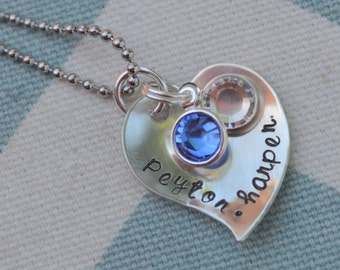 Silver Heart Hand Stamped Necklace with 2 Names and Birthstones - Mom - Grandmother - Wife - Girlfriend - Sister - Best Friend - New Mom