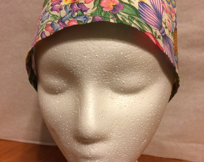Spring print, fabric, tie back, surgical cap
