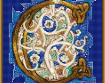 Embellished C with vines on Blue  cross-stitch pattern PDF download