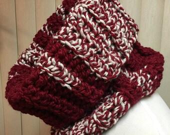 Cowl, Red, White, Turtleneck, Crochet Scarf, Chunky, Neck Warmer, OOAK, Handmade, Winter, Gift for Him, Gift for Her