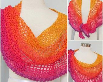 Pattern only - Tequila Sunrise Crescent Shawl pattern crochet lace pdf pattern