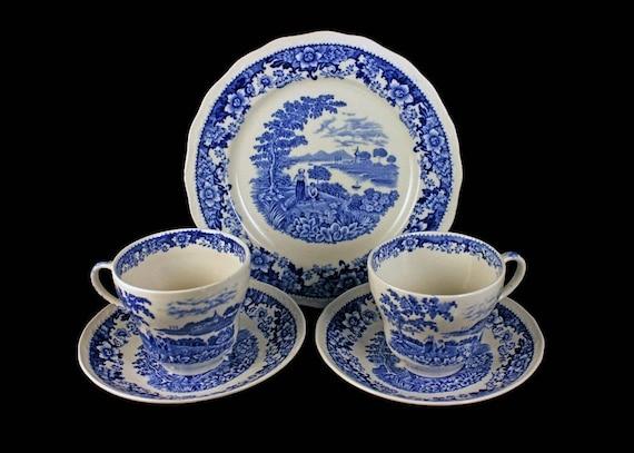 Teacup Set, Swinnertons, Silverdale, Center Scene,  2 Teacups Saucers Plate, Display Set, Dessert Set, Luncheon Set, Blue and White China