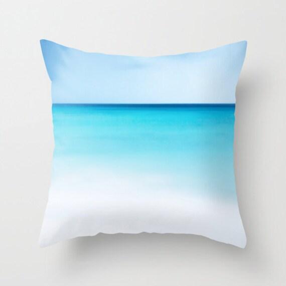 OCEAN Throw Pillow, Calm Waters, Blue Pillow, Decorative Pillow, Nature Cushion,Wedding Gift, Nautical, Dorm, Office, Surf,White Sand Pillow