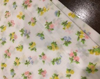 Standard Floral Pillowcase pair Vintage 60s pink yellow flowers shabby chic retro