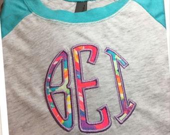 Monogram Shirt, Monogram Raglan, Monogram 3/4 Sleeve Raglan, Monogrammed Shirt, Personalized Raglan, Personalized Shirt