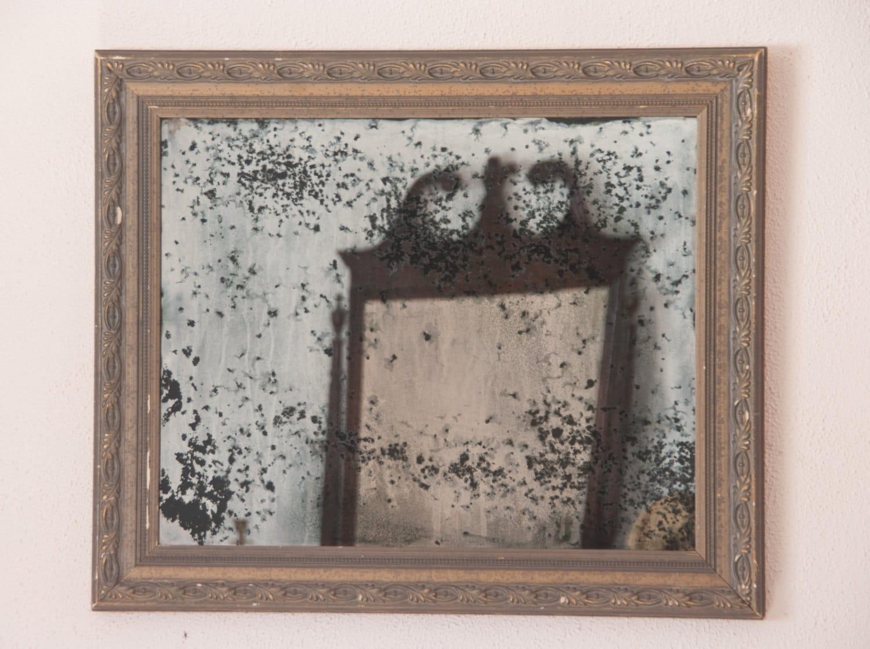 Antiguo espejo de plata espejo de pared marco madera hechos