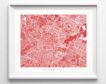 Mexico City Map, Mexico Print, Mexico City Poster, Mexico Art, Anniversary Gift, Arty Print, Holiday Gift, Decor Idea, Mothers Day Gift