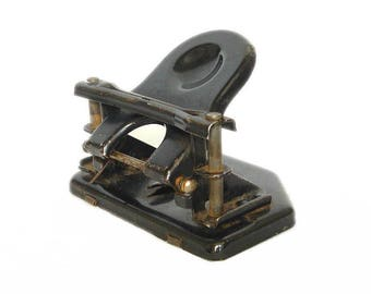 Antique German Two Hole Paper Punch Perforator SOENNECKEN. Antique Black Metal Puncher Soennecken Working, Soennecken puncher, Office Decor