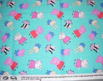 Peppa Pig on turquoise - cotton fabric  - 27 inches long by 27 1/2 inches wide