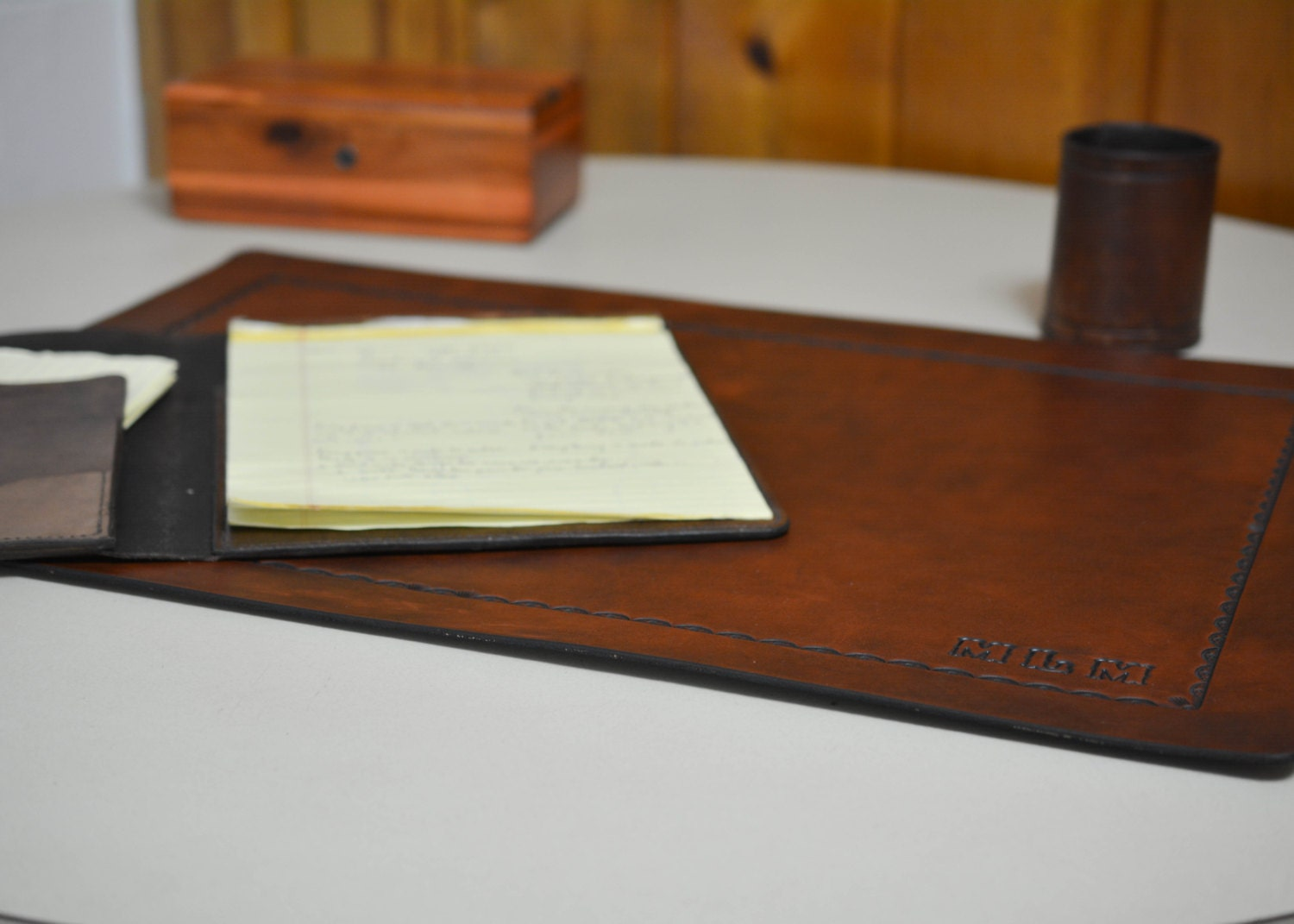 Desk Pad Office Blotter Pad In Full Grain Leather