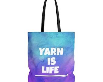 Yarn is Life Watercolor Crochet Tote Bag - 3 Sizes