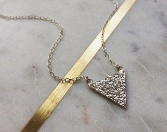 Triangle Necklace - Hammered Triangle Necklace - Geometric Necklace - Triangle Pendant