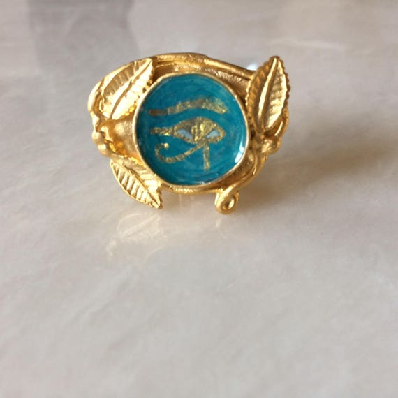 Ancient Egyptian Wadjet Eye Gold Plated Brass Ring