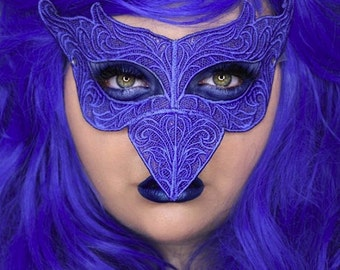 Blue bird embroidered lace mask