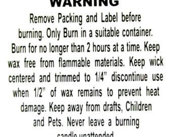 2'' Candle Warning Label Stickers - Quantity: 30 | Soy Candles Warning Label Stickers | Candles Warning Label Stickers