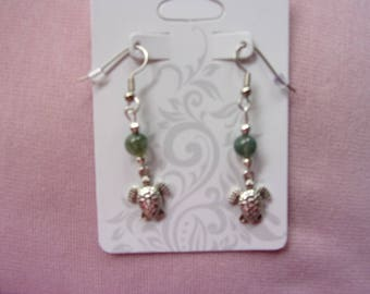 Moss agate and silver sea turtle earrings