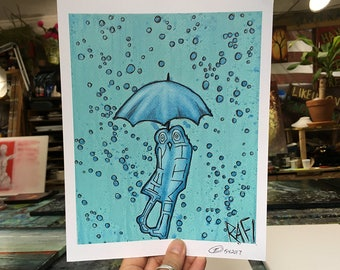 Kiss In The Rain Wall Art by Artist Rafi Perez Original Artist Enhanced Print 8X10