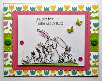 Springtime bunnies - instant download digital stamps by Tierra Jackson