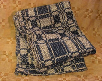 Elegant Antique Linsey Woolsey Coverlet Overshot Woven Blue Wool U0026 White Cotton