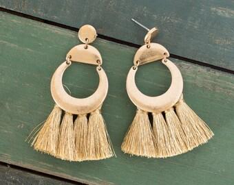 Gold tassel earrings, Gold geometric earrings, Gold earrings, Tassel earrings, Dangle earrings, Tassel stud earrings, Fan tassel earrings