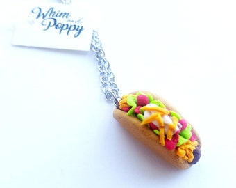 Taco necklace, food jewelry, miniature food, polymer clay taco, gift for foodie, taco charm necklace, mini food necklace, taco jewelry