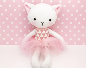 Cat rag doll - Plush cat toy - Handmade cat doll - Heirloom doll - plush doll - Cloth Doll - Fabric Cat Doll -  Stuffed doll - with a tutu.