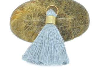 2 mini tassels 30mm light grey cotton with rings