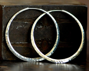 2 inch hammered sterling silver hoop earrings, large endless style hoop, 925 silver hoop earring, eco friendly jewelry