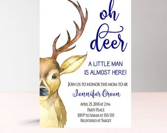 Oh Deer Baby Shower Invitation Boy, Woodland Baby Shower Invitation Boy, Instant Download, Printable Its a boy Baby Shower Invitation, W1