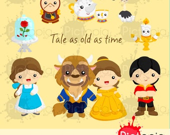 Tale as old as time Clipart, princess clip art, beauty and the beast png INSTANT DOWNLOAD