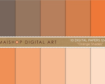 Solid Color Digital Paper 'Orange Shades' Plain Color Background for Invitations, Decoupage, Scrapbooking...
