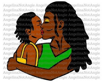 Gloria and Gigi with Locs SVG, Mother and Child Graphic, Hugging Kissing Love, African American, Natural Hair, Cut File Dread Lock Dreadlock