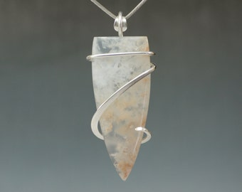 Large Plume Agate Cold Forged Sterling Silver Pendant