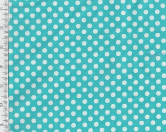Dot Dot Dash - per Yd - by Me and My Sister - Moda - Aqua w/ white dots