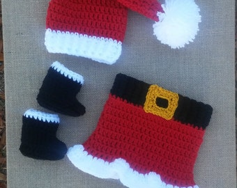 Crochet mrs clause outfit , baby girl christmas photo prop, newborn baby girl first christmas outfit, newborn girl outfit christmas, santa