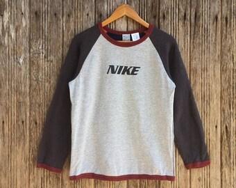 Rare!! Vintage Nike Big Logo Sweatshirt Nice Design Large size zMXsA