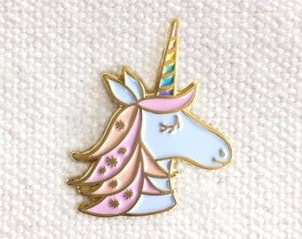 Unicorn Pin - Lapel Pin - Gold Enamel Pin - Shiny Gold Metal - Kawaii Flair Pin - Best Selling - Magical Unicorn - Pastel Unicorn - EP2080
