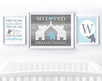 Custom Baby Boy Gift Personalized Elephant Nursery Wall Art Set of 3, First We Had Each Other Elephant Nursery Decor, Elephant Baby Shower